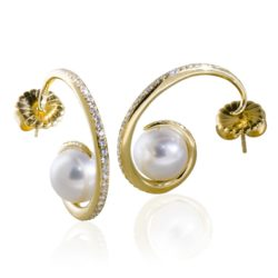 Tendril Earrings Diamonds Pearls wht 800