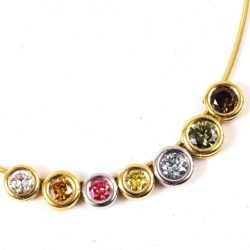 Colored Diamond Halo Slide Pendants