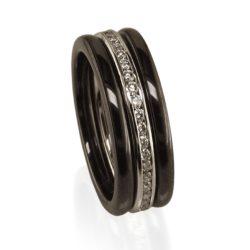 rounded black ceramic diamond channel wht big